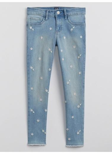 Gap İşlemeli Legging Jean Pantolon Mavi